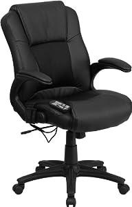 Flash Furniture Massaging Black Leather Executive Office Chair Big Tall Lea