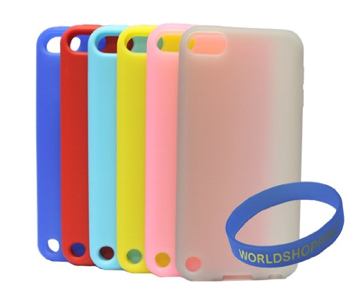 Worldshopping 6 X Soft Rubber Silicone Skin Case Cover for Apple iPod Touch 5 5th Generation- Blue/ Red/ Light Blue/ Yellow/ Pink/ Grey + Free Accessory