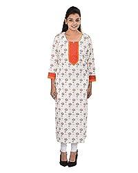 Damyantii Women's Plus Size Cotton Round Neck White Kurti