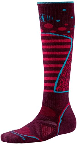 Smartwool Women'S Phd® Ski Pd Pattern Performance Socks, Aubergine, Medium