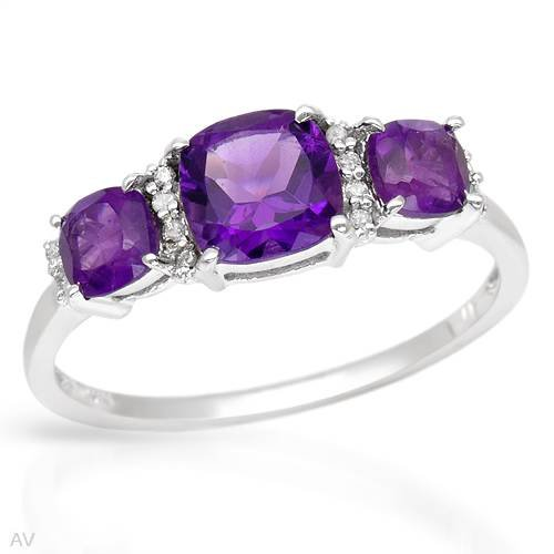 Ring With 1.75ctw Precious Stones - Genuine Amethysts and Diamonds Beautifully Designed in White Gold (Size 8)
