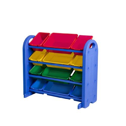 ECR4Kids 4 Tier Plastic Storage Organizer with Bins