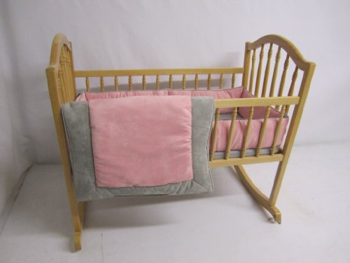 Baby Doll Bedding Zuma Cradle Bedding Set, Grey/Pink
