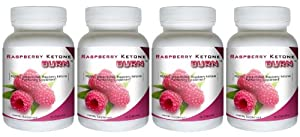 Raspberry Ketone Burn 4 Bottles - Highly Concentrated Raspberry Ketones Fat Burner Supplement The Best All Natural Weight Loss Diet Formula 500mg from Best Raspberry Ketone Diet Pills