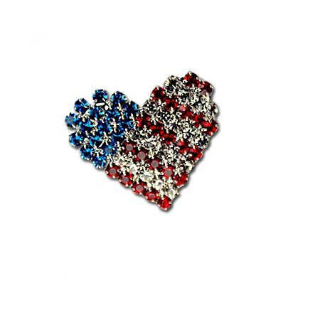 Patriotic Crystal Heart Pin/Brooch