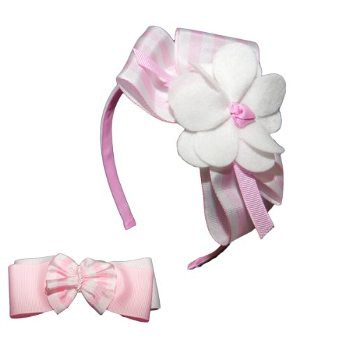 Little Miss Purple Striped Bow Headband And Matching Ponytail (Pony) Holder For Kid And Baby Girls - Light Pink / White front-962356