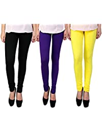 Snoogg Womens Ethnic Chic Inspired Churidar Leggings In Black, Purple And Yellow