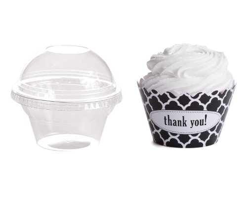 Dress My Cupcake Personalized Favor Dome Containers With Wrappers Diy Kit, Spanish Tile, Quatrefoil, Thank You, Set Of 25 front-523916