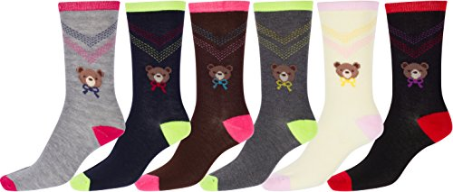 Sakkas Women's Poly Blend Soft and Stretchy Crew Pattern Socks Assorted 6-pack - Teddy Bear (Teddy Bear Dress compare prices)