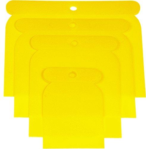 Haromac 38304004 - Set di 4 spatole in plastica, 50-75-100-120 mm, flessibili e resistenti agli acidi