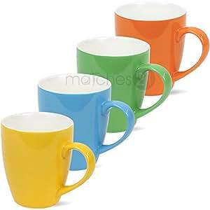 bunte tassen becher kaffeetassen kaffeebecher unifarben gr n blau gelb orange porzellan 4er set. Black Bedroom Furniture Sets. Home Design Ideas
