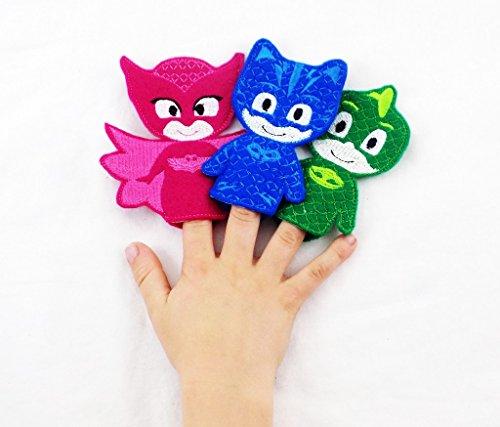 PJ Mask Themed Toy Finger Puppet (Set of 3) Catboy Owlette Gekko