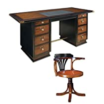 Hot Sale Captain's Desk with Purser's Chair, Black and Honey - Office Nautical Furniture Kit, Solid Wood Office Desks with Chair, Black and Honey - Working Desk and Chair