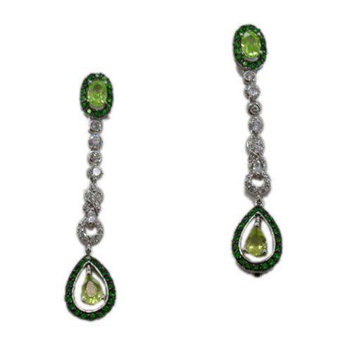 C.Z. (.925) STERLING SILVER LIME OVAL DROP RHODIUM PLATED EARRINGS (Nice Holiday Gift, Special Black Firday Sale)