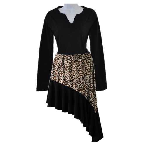 [Womens Salsa Leopard printed swing dance skirt with long sleeve top-L03X (Large)] (Childrens Salsa Costumes)