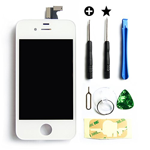 Replacement Digitizer And Touch Screen Lcd Assembly For Black Apple Iphone 4 (Fits Cdma Verizon/Sprint Iphone 4 Only) + Repair Tool Kit White