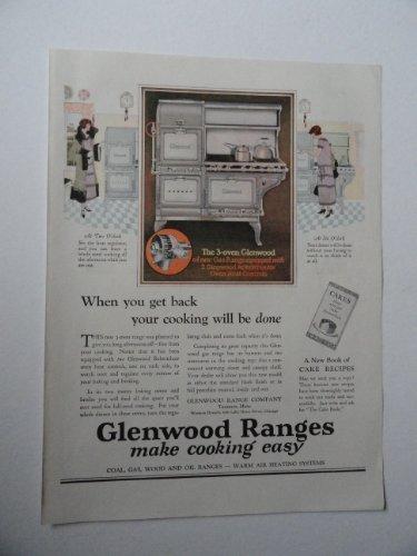 Glenwood Ranges, 20'S Print Ad. Full Page Color Illustration (The 3-Oven Glenwood)Original Vintage 1925 Modern Priscilla Magazine Print Art