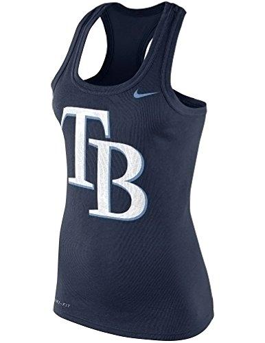 Nike Women's Tampa Bay Rays Logo MLB Dri-Fit Cotton Racerback Tank Top (XL, Navy Blue)