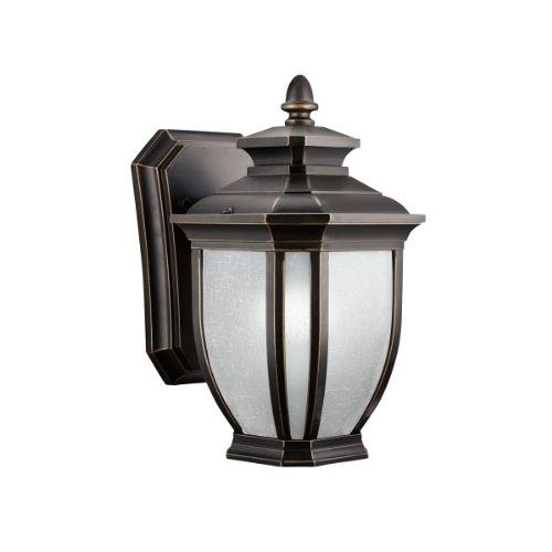 Kichler Lighting 9039RZ Salisbury 1-Light Outdoor Wall Mount Fixture, Rubbed Bronze with White Linen Glass