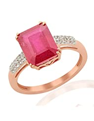 RUBY 4.85 CARAT W. TOPAZ GEMSTONE RING IN ROSE GOLD PLATED 925 STERLING SILVER