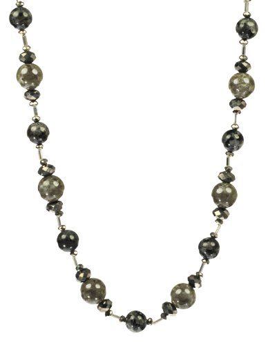 Labradorite with Faceted Metallic Rondell and Glass Bead Accents Necklace 30