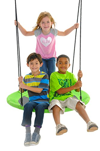 "SWINGING MONKEY PRODUCTS Giant 40"" Saucer Spinner Swing, Green - Tree Swing, Swing with Friends, Family Swing, Easy Installation"