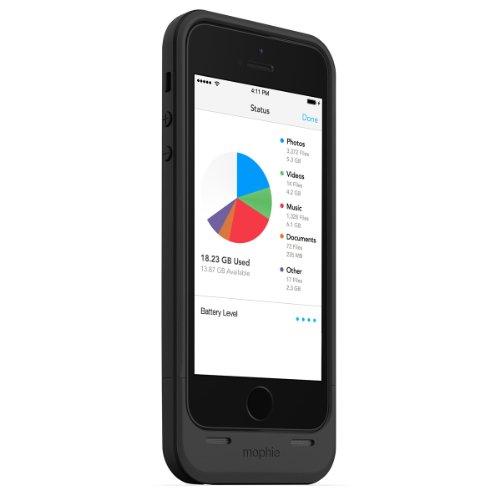 日本正規代理店品・保証付mophie space pack 32GB ストレージ内蔵バッテリーケース for iPhone 5s/5 ブラック MOP-PH-000062