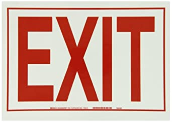 "Brady Red On Green Color Glow-In-The-Dark Exit And Directional Sign, Legend ""Exit"""
