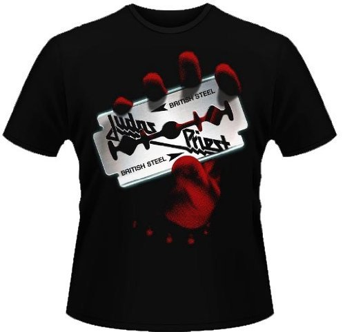 "Official-T Shirt, motivo ""JUDAS PRIEST-BRITISH STEEL"", tutte le misure nero X-Large"