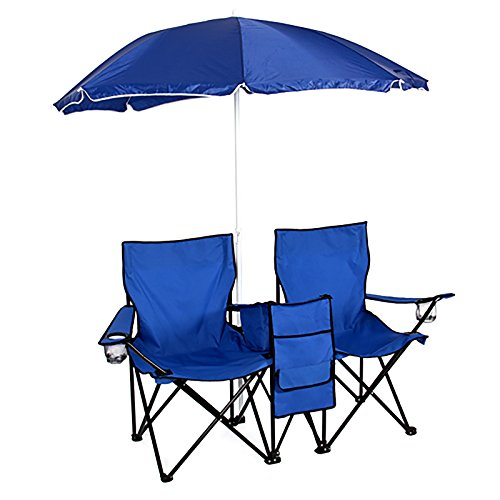 Picnic Double Folding Chair w Umbrella Table Cooler Fold Up Beach Camping Chair (Round Rolling Beverage Cooler compare prices)