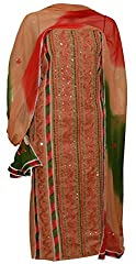 eco haat Hand Crafted vibrant Traditional Patchwork unstitched Mustard Salwar Suit Dress Materia[MUPWDM02] 44