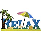 Relax Sign with Wood Cut Out Letters with a Metal Umbrella and Palm Trees