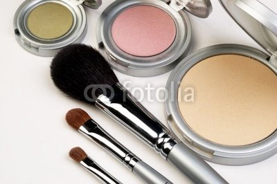 Wallmonkeys Peel and Stick Wall Decals - Three Makeup Brushes and Blush - 18