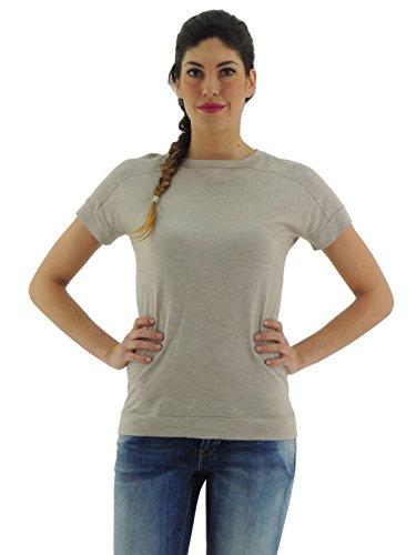 Brunello Cucinelli maglia lurex donna t-shirt lana seta M41802910 (M, BEIGE)