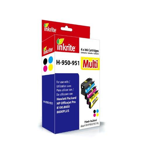 Inkrite Tintenpatronen-Set für HP 950XL/951XL, Schwarz / Zyan / Magenta / Gelb