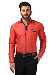 Mesh Full Sleeves Casual Cotton Blended Shirt for Men's/Boy's (Red) -42