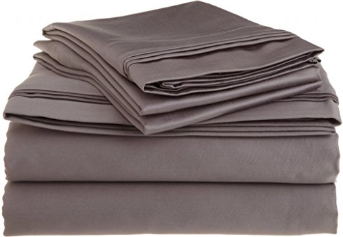 "550 Tc Egyptian Cotton Fitted Sheet For Camper'S, Rv'S, Bunks & Travel Trailers 3 Piece Set 12""Deep Pocket Rv Bunk (42X80"") Dark Grey Solid front-303045"