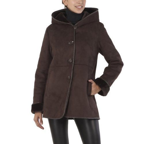 BGSD Women's Hooded Faux Shearling Coat with Faux Leather Trim - Chocolate XL