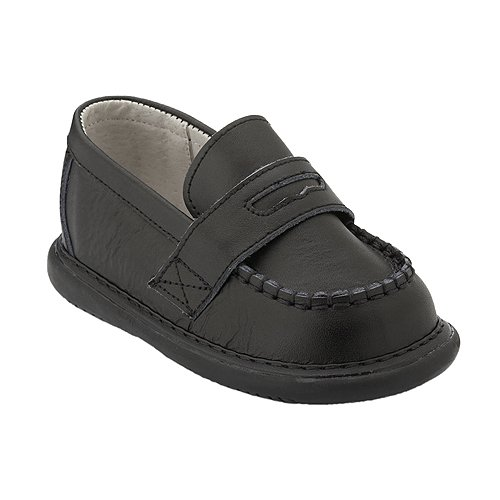 Wee Squeak Baby Toddler Little Boys Black Leather Loafer Shoes 3-12