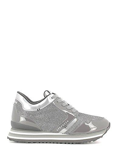 APEPAZZA RIHANNA METAL FABRIC RSD01, sneaker vernice/camoscio, zeppa interna, GRIGIO SILVER (41)