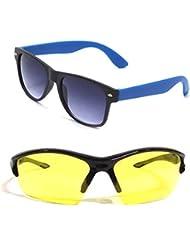 New Stylish UV Protected Combo Pack Of Sunglasses For Women / Girl ( RoyalblueWayfarer-YellowNightVison ) ( CM-SUN...