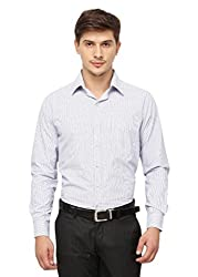 Copperline White Blue Striped Slimfit Fullsleeves Cotton Formal Shirt