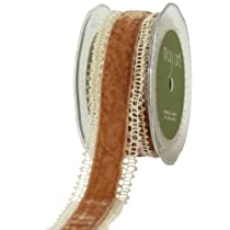 May Arts 1-1/2-Inch Wide Ribbon Ivory Crochet with Antique Gold Velvet