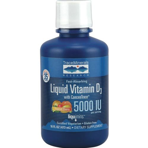 Trace Minerals Research Liquid Vitamin D3 With Concentrace Tropical Cherry -- 5000 Iu - 16 Fl Oz