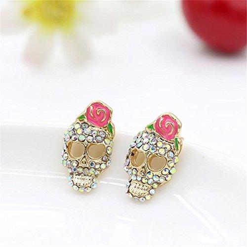 honeyru-chic-women-earring-stud-skull-rose-rhinestones-nail-jewelry