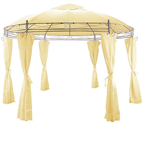 pavillon festzelt gartenlaube partyzelt bierzelt gartenzelt zelt 350cm rund beige. Black Bedroom Furniture Sets. Home Design Ideas