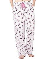 Noble Mount Womens Premium 100% Cotton Poplin Lounge/Sleep Pants - Pink/Blue