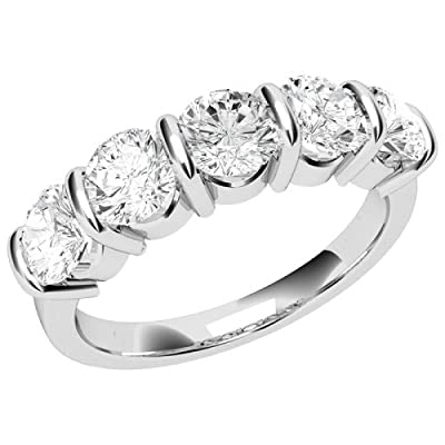 An elegant Round Brilliant Cut five stone diamond ring in platinum (PD048PL-0.50-H-SI2)