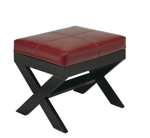 OSP Designs X-Leg Eco Leather Ottoman, Crimson