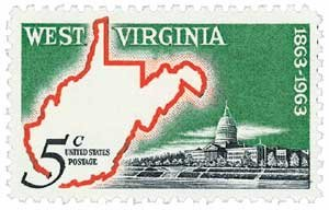 #1232 - 1963 5c West Virginia Statehood U. S. Postage Stamp Plate Block (4)